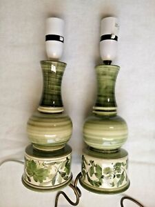 LAMPSTANDS PAIR Green cream Vintage 1950s hand painted lampstands