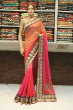 Bollywood Designer Multicolor Georgette Saree Indian Sari Bridal Party Dress