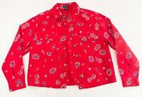 Boston Proper Red White & Blue Paisley Bandana Vintage Print Small Denim Jacket