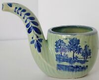 Vintage Delft Style Windmill Smoking Pipe Planter Small Pot Blue & Light Green