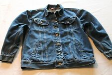 USA Made Ms Lee Blue Jean Jacket Coat Size-11/12 Trucker Button Front Denim