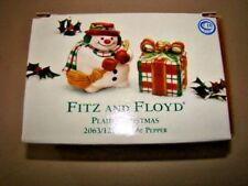 Fitz and Floyd Plaid Christmas Holiday Snowman Salt and Pepper Shakers NIB NEW