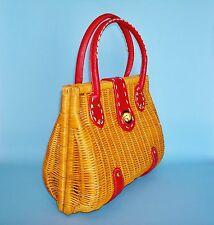 1970's Vintage Red Leather Trimmed Woven Rattan Wicker Handbag