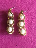GOLD Tone & Faux PEARL TWISTED  DESIGN LONG DANGLE EARRINGS, Lovely Design