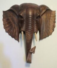 16 Inch Carved Wood Elephant Head Wall Hanging Art Home Decor