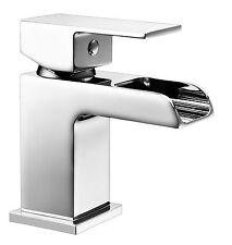 Waterfall Mini Mono Basin Mixer Tap Chrome Brass Click Waste Open Spout 7BZ