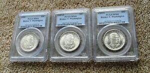 1949 - PDS Booker T. Washington Silver Half Dollar Set, PCGS MS66 - Nice set