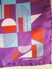 Turnbull And Asser 100% silk pocket square purple, blue red