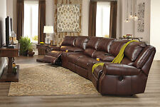 SUTTON Brown Leather Motion Reclining Sofa Couch Home Theater Sectional Set NEW