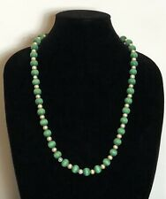 Green Wooden Beads and Faux Pearl Necklace Costume Jewellery Colourful Arty Boho