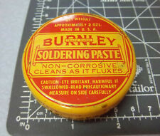 Vintage Burnley Soldering Paste tin, 2 oz, mostly full, great colors & graphics