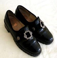 True Vintage Leder Schuhe Brogues Creepers Gothic Rockabilly Plateau Schwarz 40