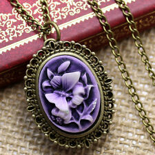 Antique Style Purple Flower Pocket Watch Chain Necklace Pendant Women's Gift