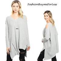 Haute BOHO Gray Angora Cashmere Knit Oversize Open Shoulder Sweater Top S M L XL