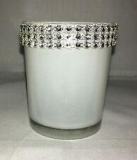 New Set of 3 DavidTutera White w/ Silver & Diamond Bling Votive Candle Holders