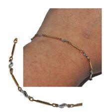 Bracelet fin de couleur or et motif plaqué argent 20cm à 24cm bijou