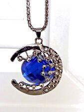 Impresionante Gris Plomo media luna, Joya Piedras & Blue Collar Colgante de piedra Facetado.