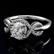 1.56 ROUND CUT DIAMOND HALO ENGAGEMENT RING 14K WHITE GOLD ENHANCED