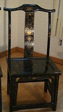 PAIR EARLY 20C CHINESE HANDPAINTED GOLD GREEN LACQUERED THRONE CHAIRS