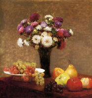 Nice Oil painting Henri Fantin Latour - Asters and Fruits on a Table still life