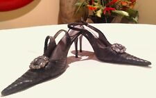 Pierre Dumas Faux Snakeskin Slingback Black Buckle Pointed Toe 8.5