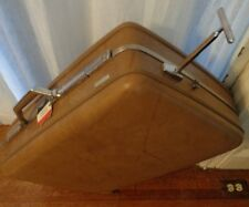 Vtg American Tourister Luggage Hard shell Light Brown Caramel Wheel Metal Pull