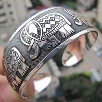 New Tibetan Tibet silver Totem Bangle Cuff Bracelet Elephant Women Punk Style TS