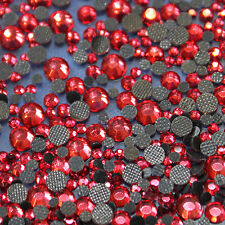 Assortiment strass ROSE ROUGE en verre hotfix s06 + s10 + s16 + s20 n°(127)