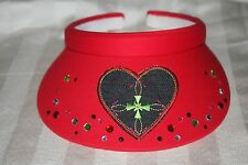 Visor Red One-Size with Heart Denim and Matching Rhinestones
