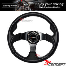 320mm JDM Racing Sport Steering Wheel Black PVC Leather TRD Horn Button