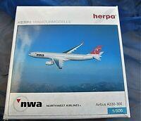 herpa northwest airlines a330-300 aus metall1:500 nr 502009 in ovp aus sammlung