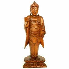 Impressive Handcarved Balinese Praying Namaskara Wood Buddha Statue 40cm Gift