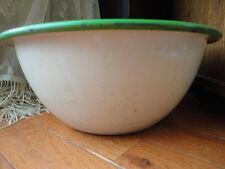 Cream & Green Enamelware Mixing or Serving Bowl  Vintage