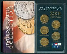 2001 U.S. STATEHOOD QUARTER COLLECTION 5-Quarters UNC Coins GOLD EDITION