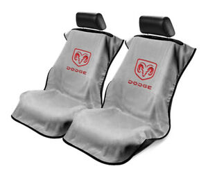 Seat Armour 2 Piece Front Car Seat Covers For Dodge - Grey Terry Cloth