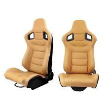 Pair Reclinable Tan Racing Seats Yellow w/ Dual Sliders Sport Bucket Pvc Leather