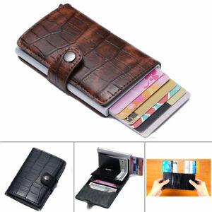 Pop-up Credit Card Holder PU Leather Case RFID Blocking Metal Wallet Money Clip