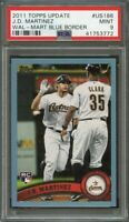 2011 topps update wal-mart blue border #us175 J.D. MARTINEZ red sox rookie PSA 9