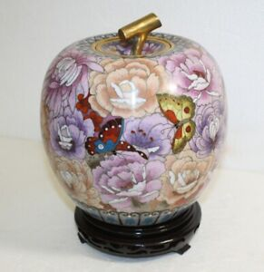Vintage Chinese Cloisonné Large Apple Shaped Lidded Urn w/Stand Floral Butterfly