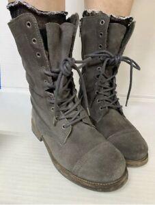 All Saints Distressed Grey Suede Leather Combat Boots Zip Lace Up Sz 37 # 6.5M