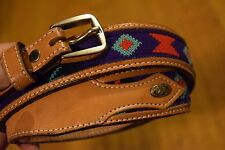 Circle Y of Yoakum Women's Sz 32 Western Belt Brown Leather Indian Print Inlay