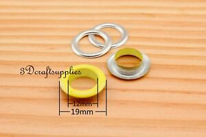 eyelets metal with washer grommets yellow round 60 sets 12 mm CK68