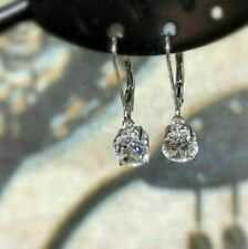 18K White Gold Finish 4Ct Round Attractive Cut Moissanite Drop & Dangle Earrings