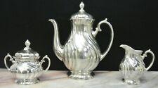 WMF Art Nouveau Judendstil Silver Plated on Porcelain Coffee Pot,Sugar&Creamer