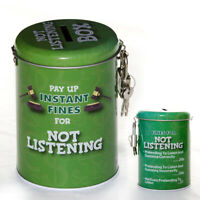 Not Listening Novelty Fine Tin Fun Money Storage Piggy bank Savings Jar Gift