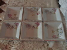 "6 Antique Powell/Bishop/Stonier ""Autumn"" Floral 5""Square Bowls Reg#49895 A+"