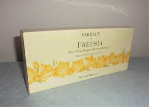 Vintage Yardley Freesia Three Pleat Wrapped Perfumed Soaps 3 x 75g - Sealed