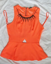 BEBE NEON SPIKE NECKLACE CUT OUT PEPLUM NEW NWT TOP MEDIUM M