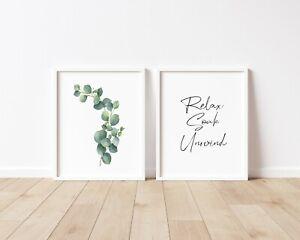 Bathroom Prints Relax Soak & Unwind Set of 2 A4 A5 Home Decor Prints Botanical