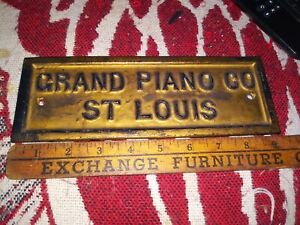 Manufacture Grand Piano Co st Louis M.O Iron Plate plaque advertising badge Sign